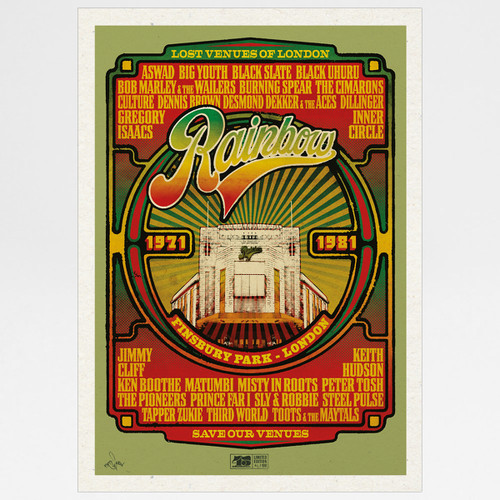 Rainbow Reggae poster print by Fiftyseven for 45 Original at Of Cabbages and Kings