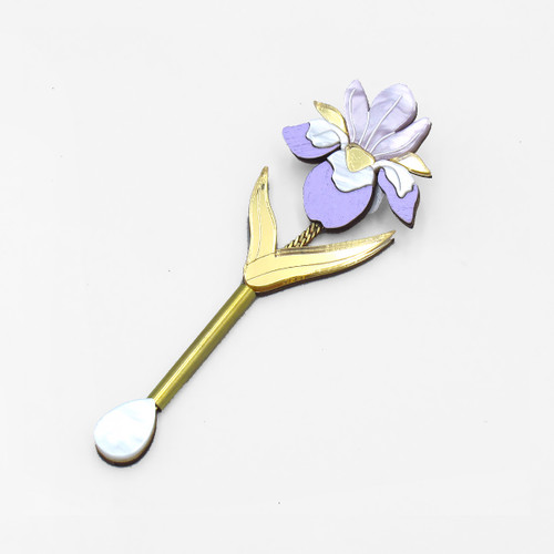Iris Drop Brooch by Wolf and Moon at Of Cabbages and Kings