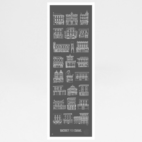 Hackney Pub Crawl Print by Pub Scrawls at Of Cabbages and Kings