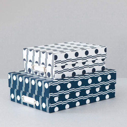 Set of 2 Archive Boxes - Benita print in Blue/Navy at Of Cabbages and Kings