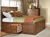 Oak Park Storage Captains Bed available with 6 standard drawer storage pedestal or 3 drawer extra deep pedestal on each side or any combination of both