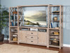 """Mountain Ash Entertainment Wall Unit  66"""" TVConsole 24"""" Piers  and Bridge"""