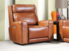 Saddle colored all leather Dual Power Reclining chair. Made in Utah
