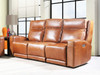 Saddle colored all leather Dual Power Reclining sofa. Made in Utah