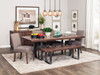 Ironwood Dining table- Shown with Extra thick top. Available with Live edge A beautiful example of 2 worlds colliding- Industrial metal mixed with natural wood elements create a stunning look.