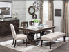 """Crawford Double Pedestal Dining Table shown in rawhide on Maple Classic lines with sharp details that bridge the gap between Modern and Country to create a refined, yet relaxed look.  Available with 18"""" butterfly leaf on each end of the table that self store in a drawer. A table with expansion capabilities but no seam in middle!"""