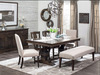 "Crawford Double Pedestal Dining Table shown in rawhide on Maple Classic lines with sharp details that bridge the gap between Modern and Country to create a refined, yet relaxed look.  Available with 18"" butterfly leaf on each end of the table that self store in a drawer. A table with expansion capabilities but no seam in middle!"