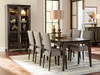 Elara Table in Elm wood with upholstered side chairs