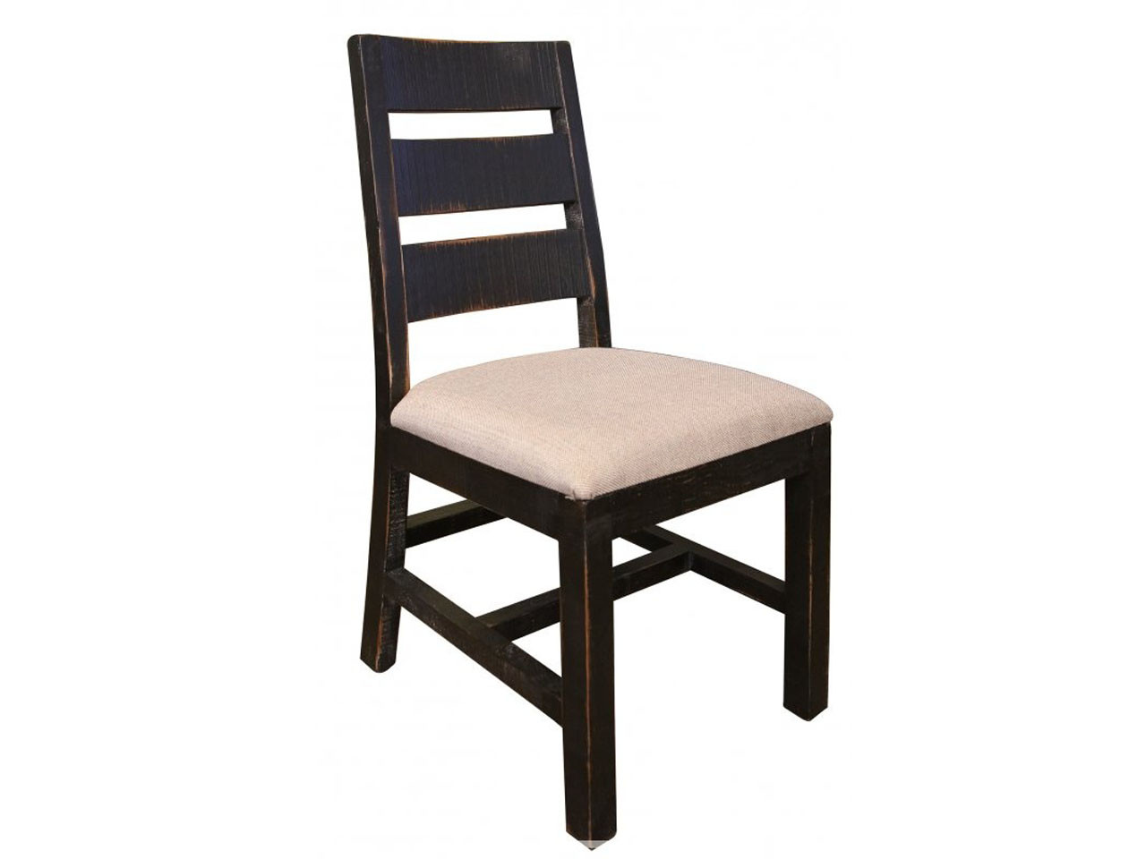Picture of: Rustic Black Ladder Back Chair