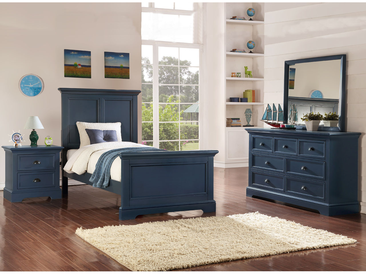 Tamarack Blue Panel Bed Twin Or Full Size