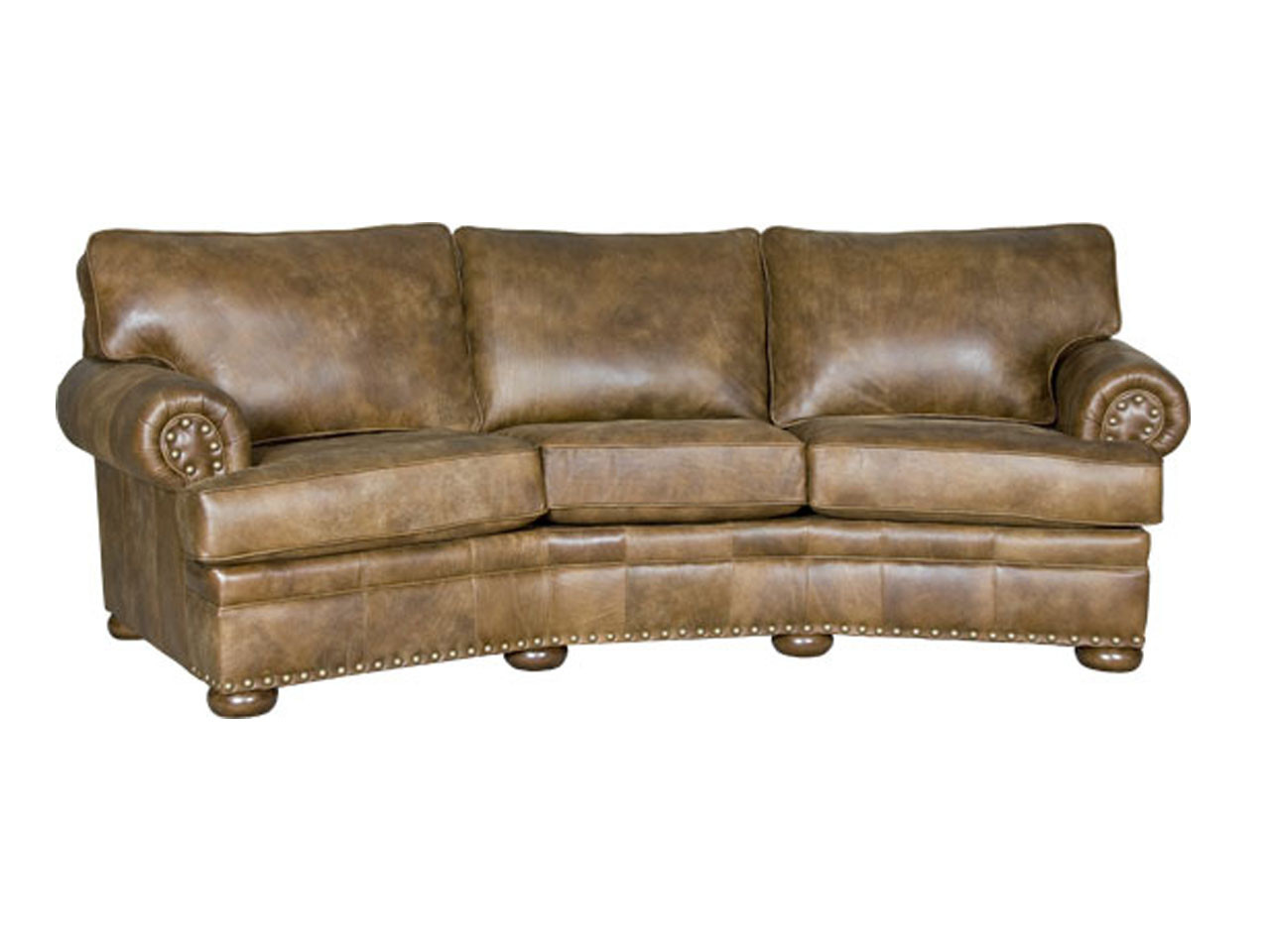 Leather custom order conversation sofa by Mayo