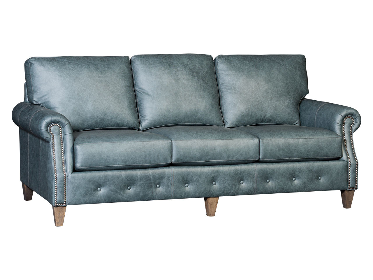 Tufted base leather sofa by Mayo Furniture