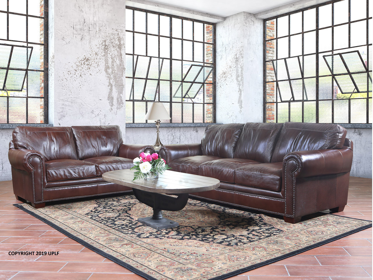 9650 Basket Weave Brown Leather Sofa