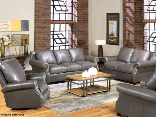 8655 Gray Leather Sofa- Utah-Made Leather 40% OFF Retail Summer Sale ...