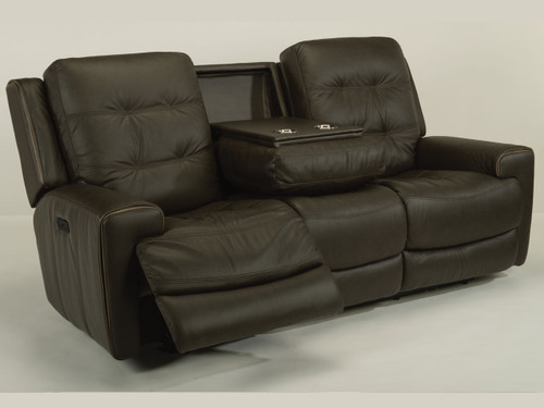 Wicklow reclining sofa with power headrest and fold down console