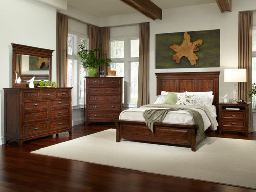 Star Valley Mansion Bed Product Description:  The Star Valley Collection by Intercon offers quality and beauty with it's Solid American Cherry construction and a deep rustic finish. Two styles of headboards are available with storage or standard rails. Matching case pieces complete this superior collection for a look that is unforgettable.
