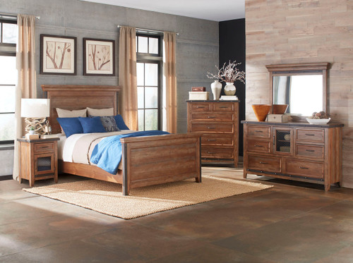 •Constructed from solid Pine and Pine veneers with select hardwoods and metal accents •Studded metal detailing for distinctive unique design •Option of one drawer nightstand with metal drawer or standard two drawer nightstand •Nightstand features built-in USB port for convenient charging •Gentleman's chest has sliding drawer and adjustable shelf •Media chest feature flip-up fronts and four drawers behind door •All chests and dressers have Cedar bottom panel in bottom drawer(s)