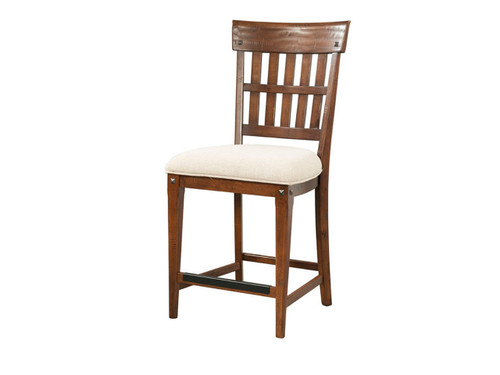 •Hand scraped wood finish for rustic antique look and feel •Beautifully shaped chair and stool seat frames for added aesthetics •Barstools stretchers have a protective metal plate covering