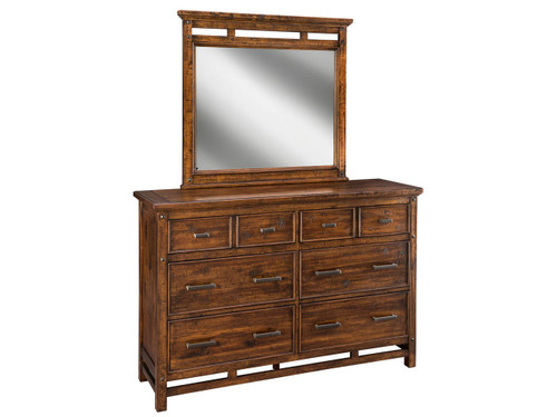 Wolf Creek Dresser •Beautifully Textured Acacia and Select Hardwood Construction. •English Dovetail Drawers. •Built-in Electrical Outlets •Deep Full Extension Drawers with Ball Bearing Slides.  •Metal Nail Head Details for Added Styling •Beveled Mirror with Decorative Accents.  •Accent lights included in the bottom of Lingerie Chest and Two Drawer Nightstand.