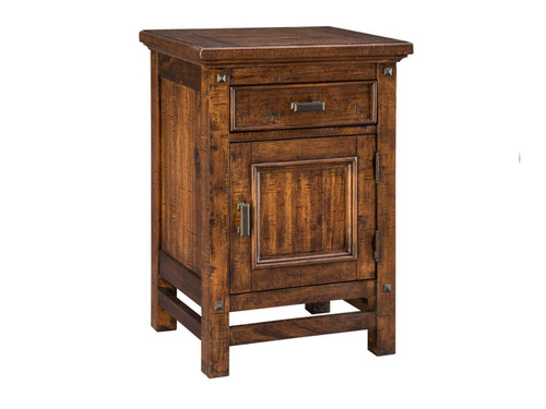 Wolf Creek One Drawer Nightstand •Beautifully textured acacia wood construction •Drawers include 5 piece construction with full extension heavy drawer slides •One drawer nightstand has cabinet door for plenty of storage space •Two drawer nightstand features LED night light on bottom with touch switches on each side and charging station in top drawer •Metal nail head details for added styling