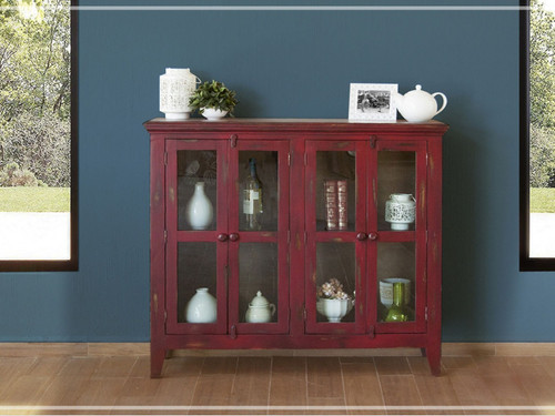 Antique 4 panel glass door console- shown in red currant