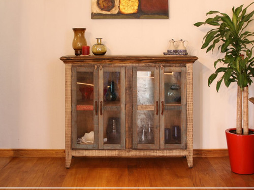 Rustic multi-colored console with 4 glass panel doors