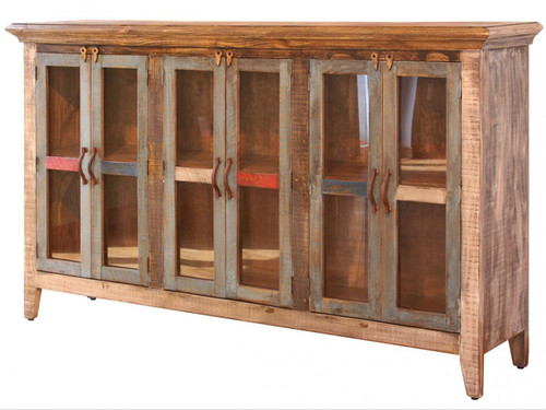 Rustic Multi-colored Console table with 6 glass paneled doors