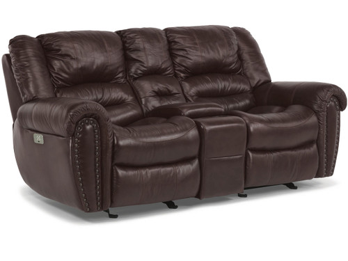 Crosstown leather loveseat with console