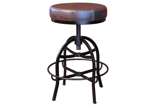 "Cushioned metal barstool. Faux leather seat.  Swivel adjusts from counter height 24"" to bar height 30"""