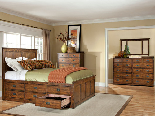 •Authentic Arts and Crafts Styling •Beautiful Mission finish •Five styles of case pieces available to match bed •Available sizes: California King, Eastern King & Queen •Captain beds offered with universal (non storage), 3 drawer storage or 6 drawer storage rails •Storage drawers constructed from solid cedar, have full extension glides and solid oak drawer fronts