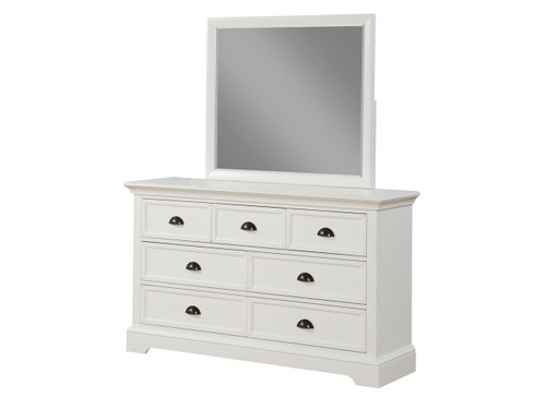 Tamarack 7 drawer White Dresser and Mirror