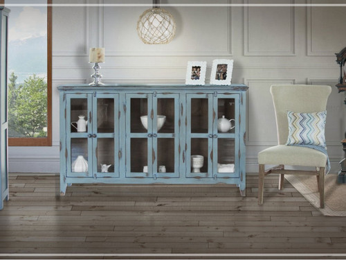 Antique 6 glass panel door console- shown in blue
