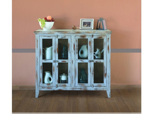 Antique 4 panel glass door console- shown in blue