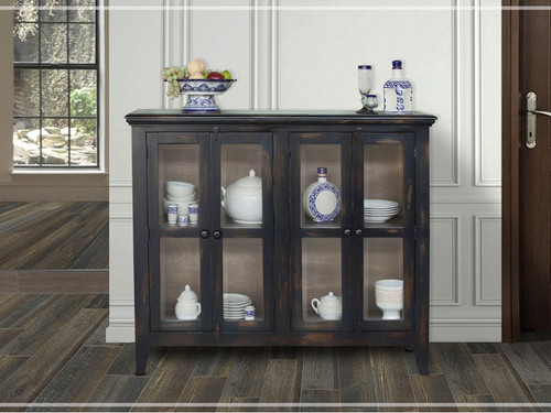 Antique 4 panel glass door console- shown in talverra (dark blue)