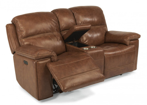 Fenwick Power reclining console love seat with power headrest. Available in 2 colors.