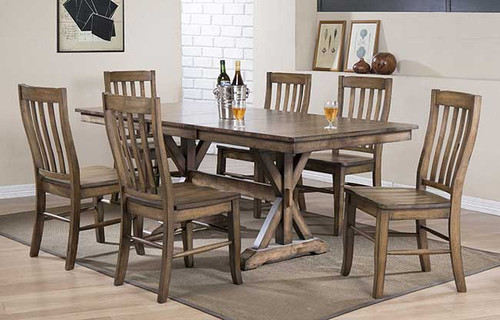 "Carmel 78"" table and chairs in Rustic Brown"