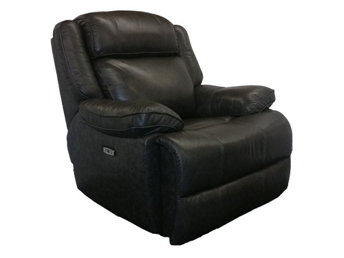 Avalon Power Recliner in Smoke color. Power headrest and power lumbar. Available as sofa, love seat and reclining chair in your choice of 2 colors: latte or smoke