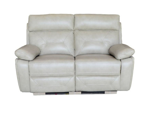 Capri Power reclining love seat made of Genuine Leather in Black or Beige (shown in Beige)
