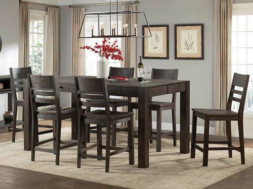 Salem Counter high table. Brushed Cocoa finish on wire brushed Acacia