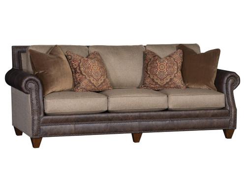 Leather custom order conversation sofa by Mayo