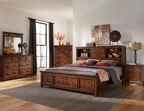 •Rustic style beds made for Acacia and Select Hardwoods with a hand scraped Vintage Acacia finish •Optional storage bed rails. •Bookcase and panel headboards available •Stand alone bookcase headboard features a centered sliding door and halogen touch light. •Storage drawers include 5 piece construction with full extension heavy drawer slides   Collection Features:  The Wolf Creek Collection by Intercon adds rustic beauty to your home with its unique hand scraping and Vintage Acacia finish. Unlimited amounts of storage capacities and hidden media functions throughout the bedroom pieces will create a bedroom that is free of clutter and full of serenity.