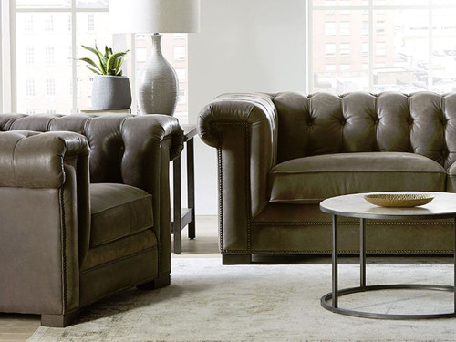 GTR Theodore collection Tufted back sofa and chair close-up