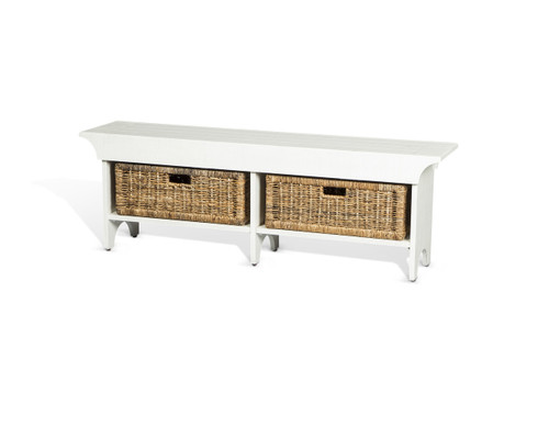 Short White Accent Bench with Basket