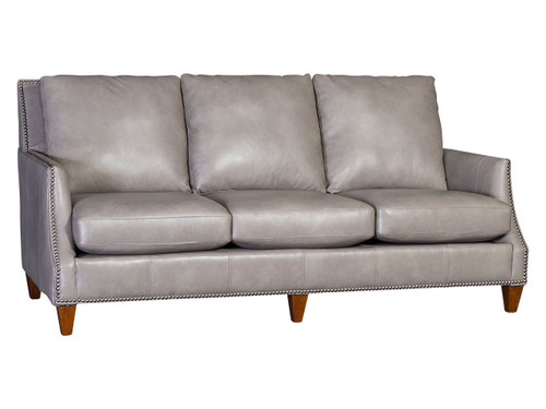 Transitional frame with nailhead on  the front instead of the side. Available in Fabric or leather