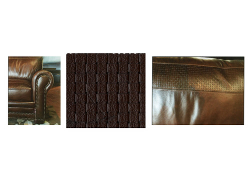 Detail of basket weave leather features