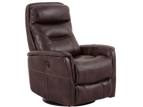 Gemini Truffle Swivel Power Recliner with adjustable headrest.
