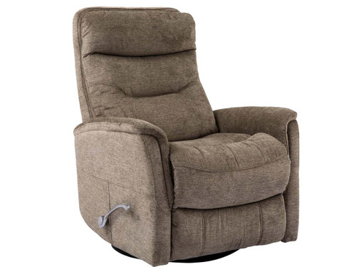 Gemini Heather Swivel Recliner with adjustable headrest. Manual recliner with long handled Assist lever.