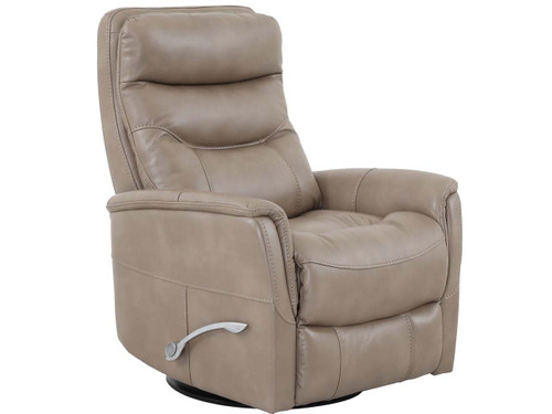 Gemini Linen Swivel Manual Recliner with adjustable headrest. Manual recliner features long handled Assist lever.