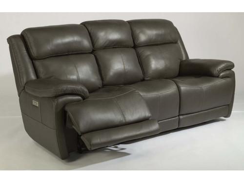 Elijah 3rd generation power reclining sofa in gray. Power Recline. Power Headrest. Power Lumbar.