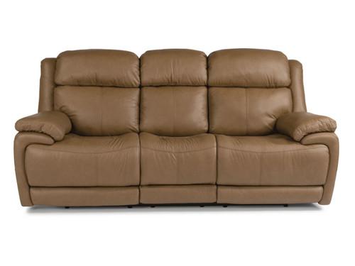 Elijah 3rd generation power reclining sofa in Caramel. Power Recline. Power Headrest. Power Lumbar.